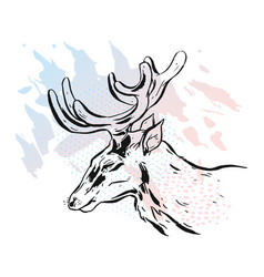 deer on a white background deer unicorn cartoon vector image