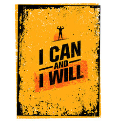 i can and i will sport gym typography workout vector image