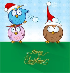 owl cartoon ON CHRISTMAS BACKGROUND vector image