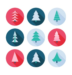 Set of Christmas trees icons vector image vector image