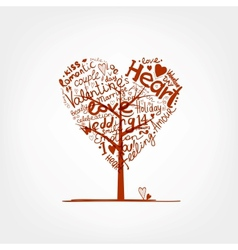 Valentine tree heart shape for your design vector image vector image