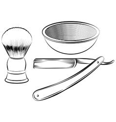 Vintage barber shaving set vector image vector image