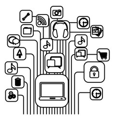 figure computer icons connections vector image