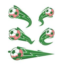 football green and soccer symbols set vector image vector image