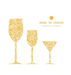 golden lace roses three wine glasses silhouettes vector image