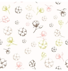 Hand drawn cotton flowers seamless pattern vector image vector image
