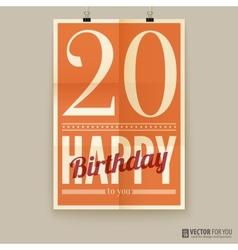 Happy birthday poster card twenty years old vector image