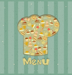 Menu Card Designs with chefs hat vector image vector image