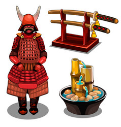 samurai katana on stand and decorative fountain vector image