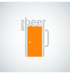 beer mug door concept background vector image vector image