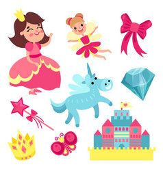 fairy tale set little princess and fairy with vector image