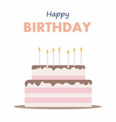 happy birthday cake card birthday party elements vector image vector image