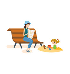 mom walks in park with her daughter and reading vector image vector image