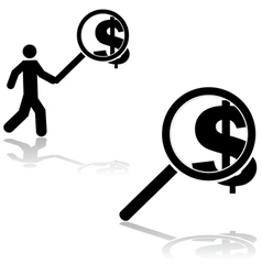 Money search vector image vector image