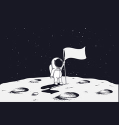astronaut on moon with flag vector image