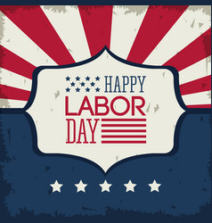 colorful poster of happy labor day with emblem vector image vector image
