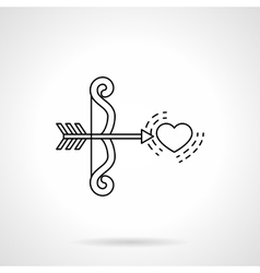 Cupids bow and heart black flat line icon vector image vector image