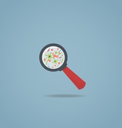 Magnifying glass and bacteria vector image