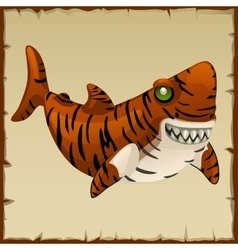 One evil tiger shark cartoon character vector image vector image