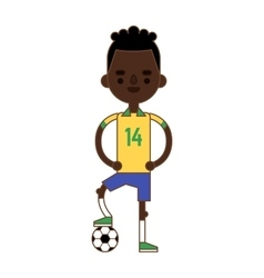 Soccer player kicking ball competition sport young vector image