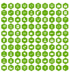 100 interaction icons hexagon green vector