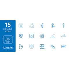 15 pattern icons vector image