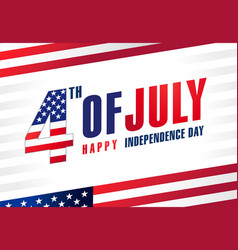 4th july usa light stripes flags banner vector image