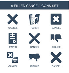 9 cancel icons vector