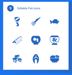 9 fish icons vector