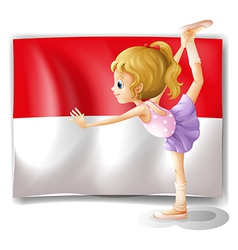 A ballet dancer performing in front of the vector image