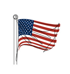 american flag continuous line vector image