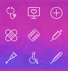 Antibiotic outline icons set collection of hear vector