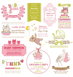 Baby arrival and shower collection vector