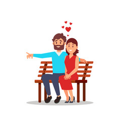beautiful woman and bearded man sitting on wooden vector image