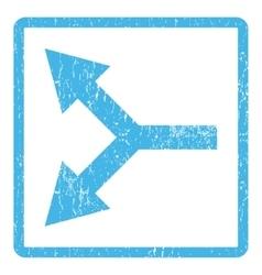 Bifurcation Arrow Left Icon Rubber Stamp vector