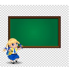 Blonde school girl near blackboard with empty vector