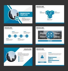 Blue presentation annual report template set vector