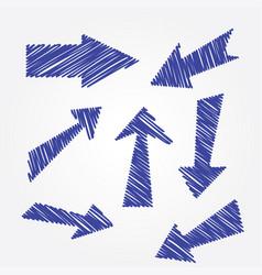 blue scribble arrows set vector image