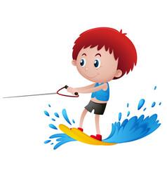 Boy playing water ski vector