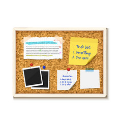 Bulletin board with photos post it notes and torn vector