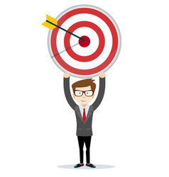 businessman holding the big target vector image