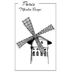 Cabaret moulin rouge in paris france sketch vector