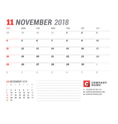 Calendar template for 2018 year november business vector