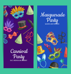 card or flyer with masks and vector image