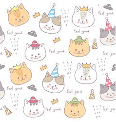 cartoon cute seamless pattern baby cat vector image