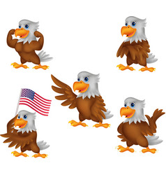 Cartoon eagles collection set vector