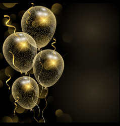 celebration background with glittery gold balloons vector image
