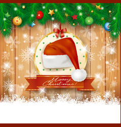 christmas background with fir and christmas hat vector image