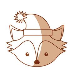 christmas fox face cartoon vector image