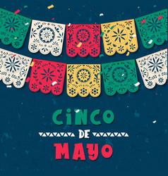 Cinco de mayo paper flag card for mexico holiday vector